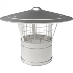 Rain Cap with Mesh dia 150mm - Silver